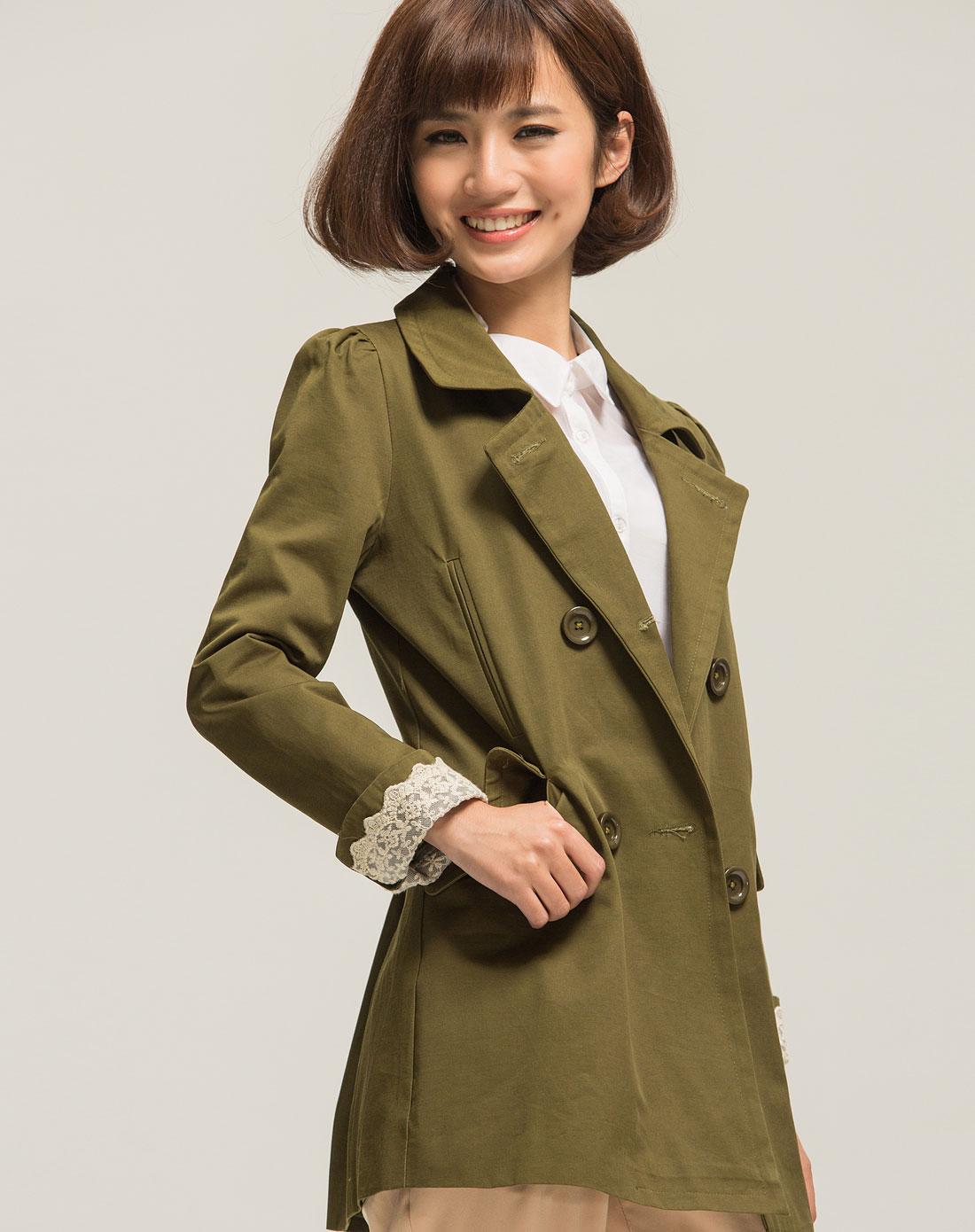 风衣女装_军绿色女装长袖风衣