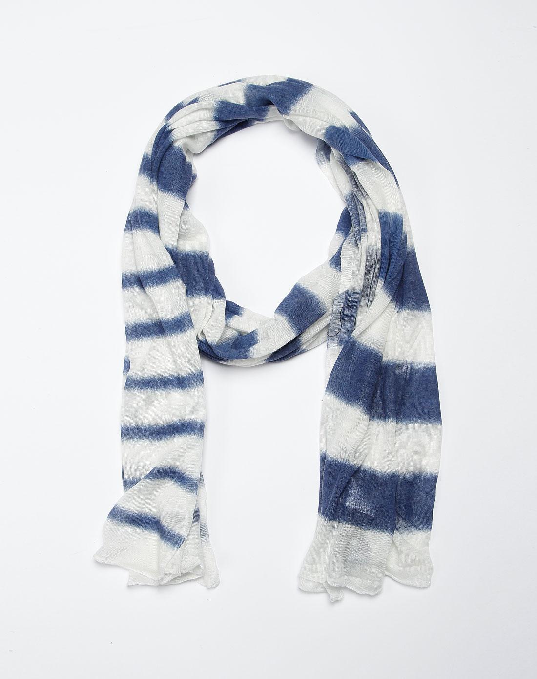 蓝白色条纹渐变间色围巾