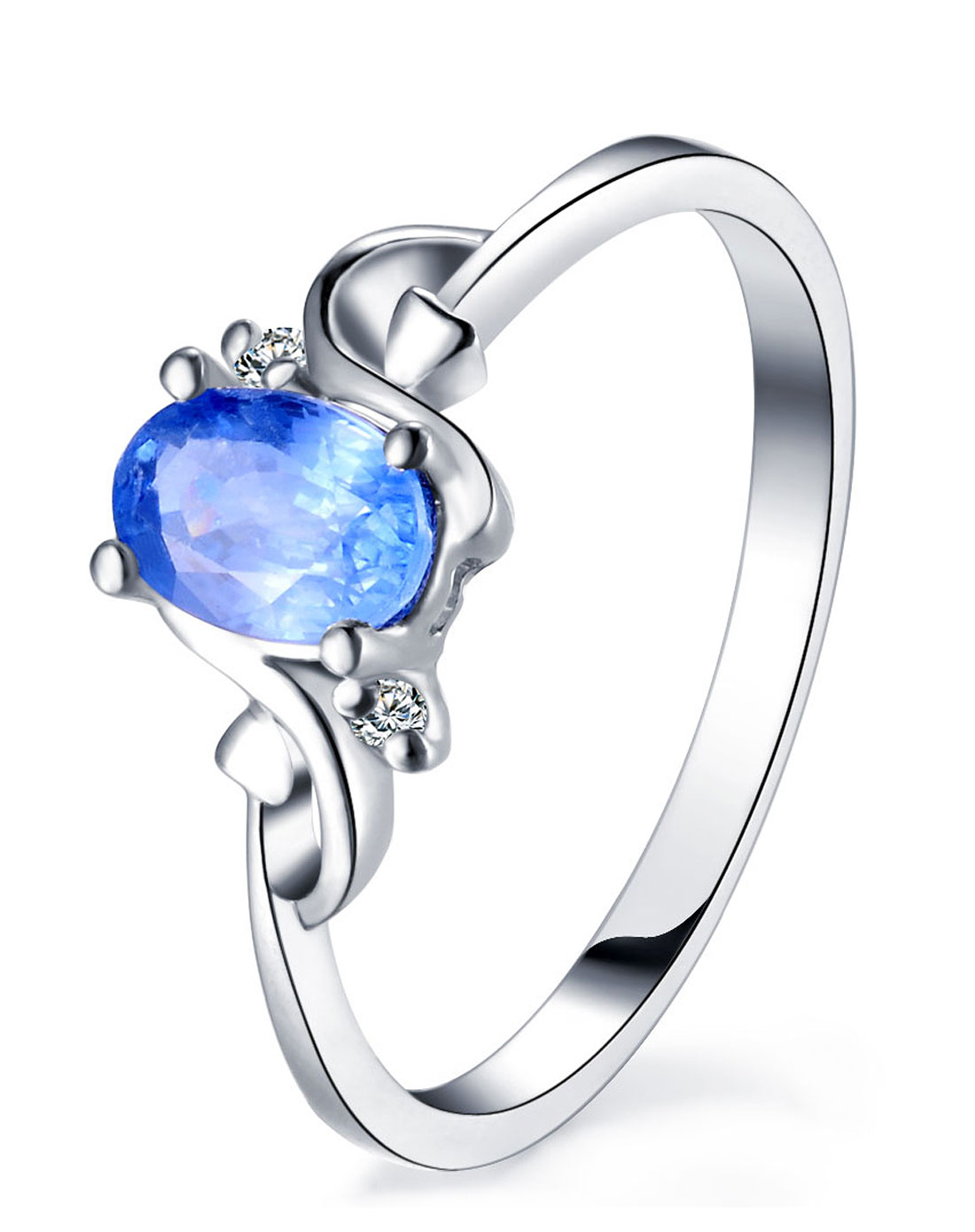 9k白金蓝宝石戒指/结婚女戒 彩色宝石r1076图片