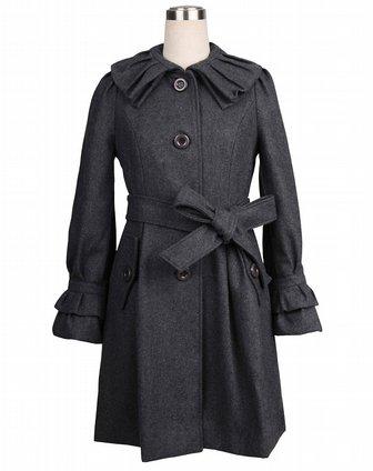 sa女款含羊毛含羊毛深灰色大衣sd0050431