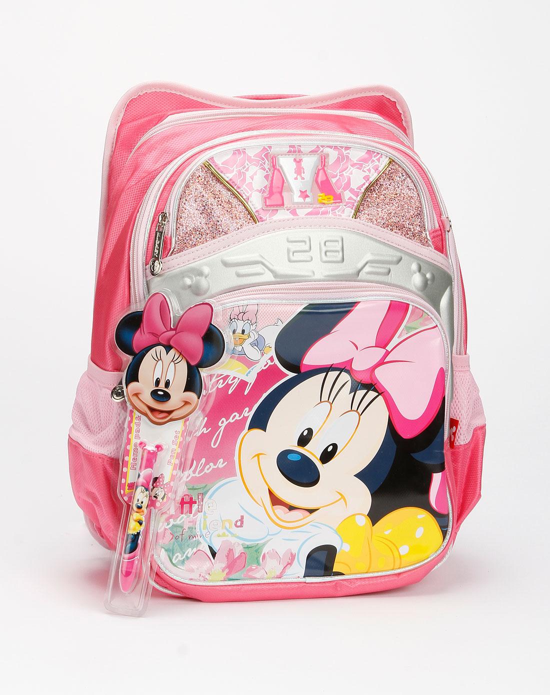 迪士尼disney儿童用品专场女童桃红色米妮减负翻盖mb