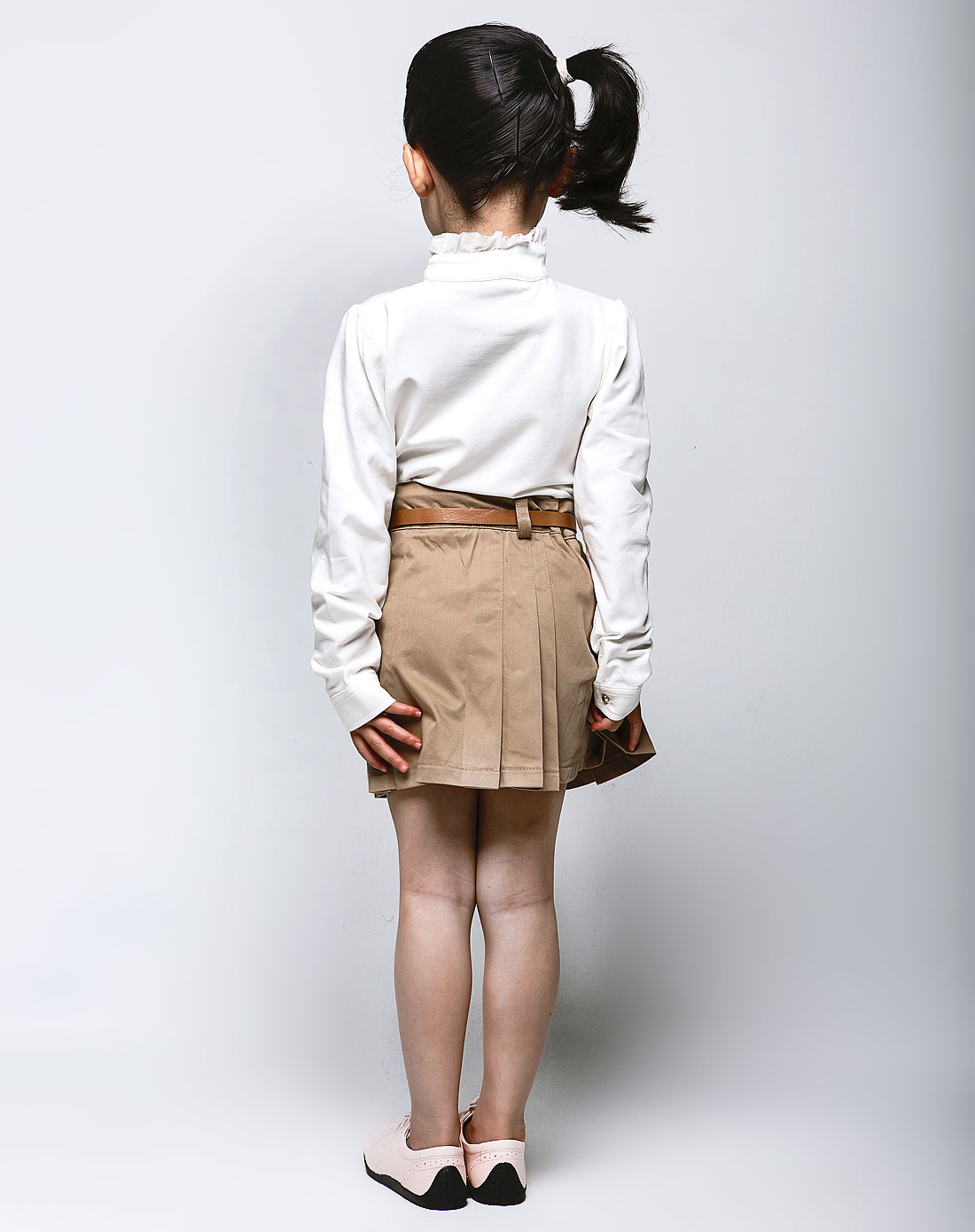 kids女童卡其色短裙b2318370406