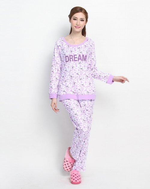 朗绪 女款白底紫色圆点仙鹤印花长袖套装