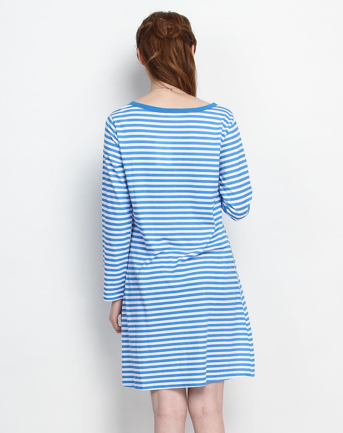 女款蓝白色条纹v领3粒扣长袖连衣裙