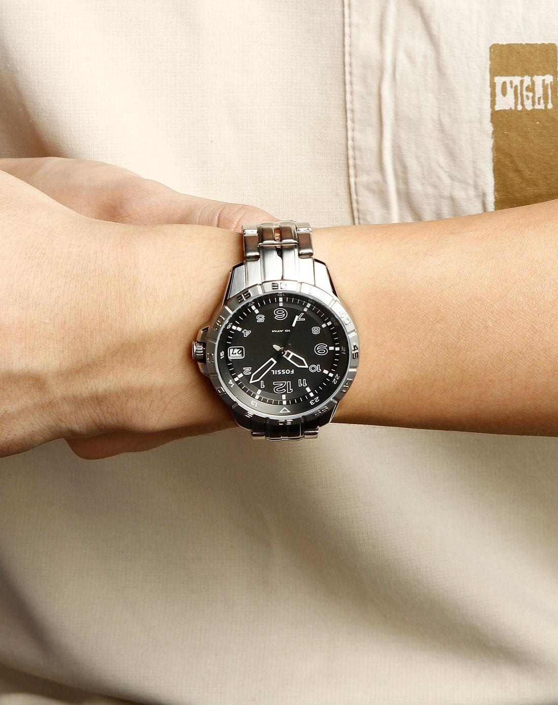 fossil男款银色不锈钢商务手表am4265