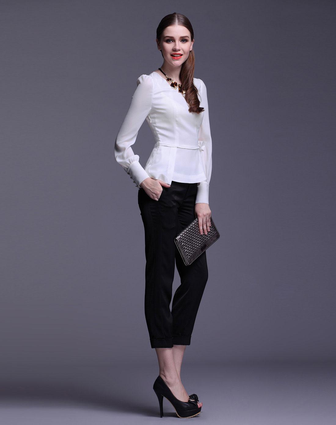 白衬衣配什么裤子女_女款黑色裤子