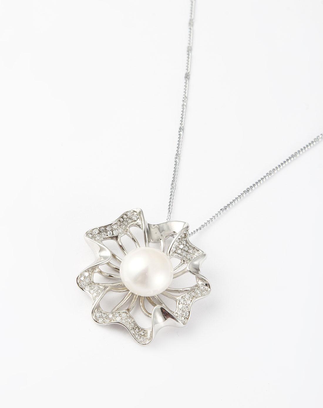 白色天然大珍珠镶钻花环项链