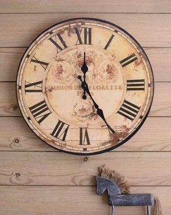 欧式复古田园枚瑰木制时钟