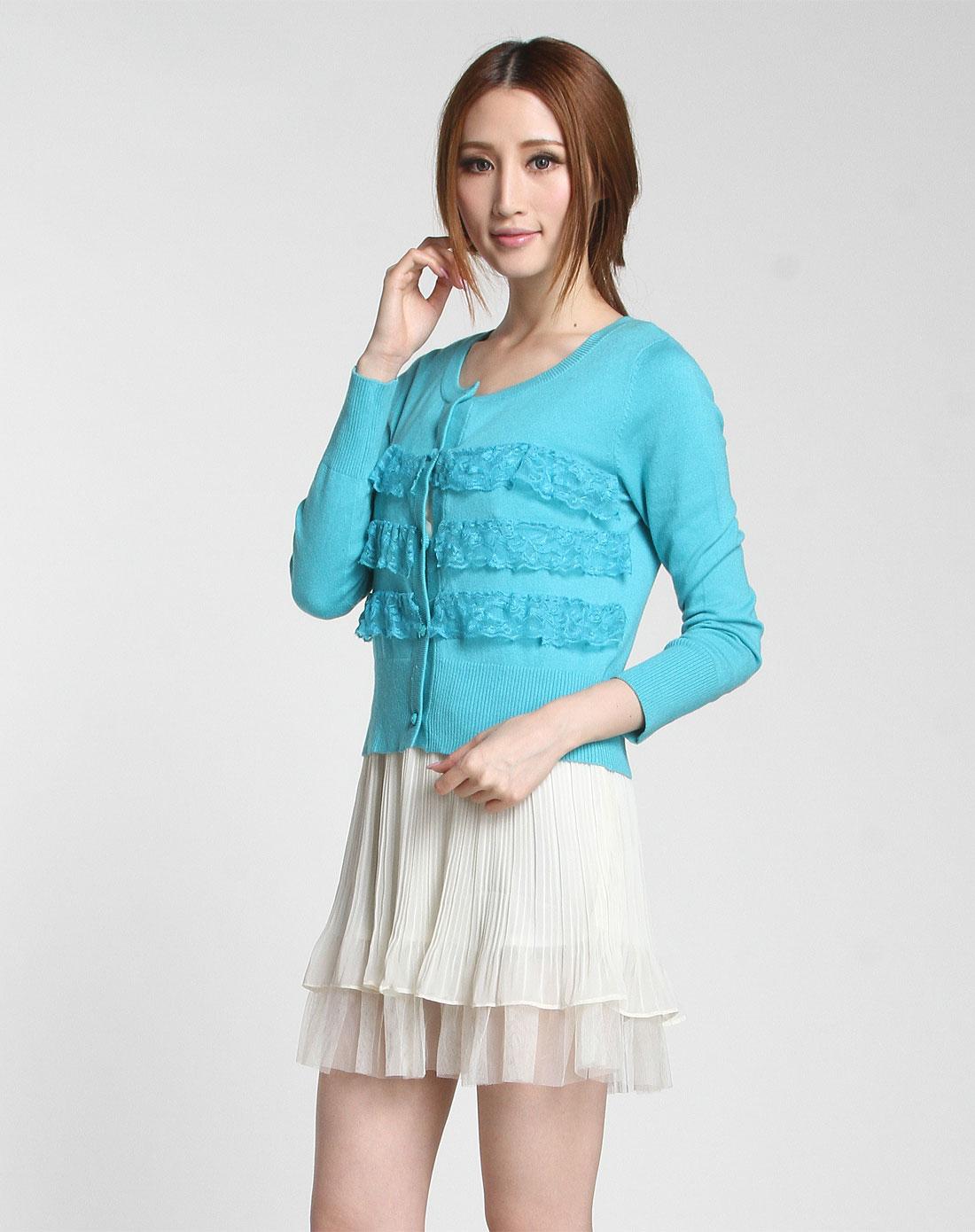衣臣zthe湖蓝色拼叠层蕾丝长袖针织开衫298121-b-71
