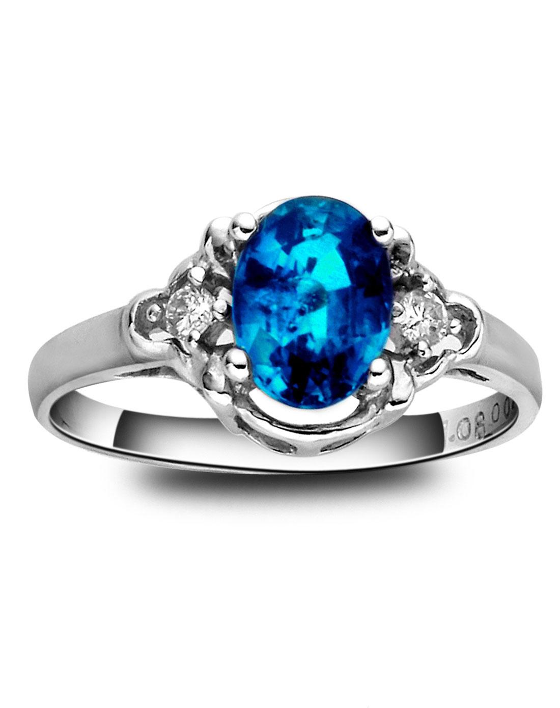 白18k金镶宝石戒指图片