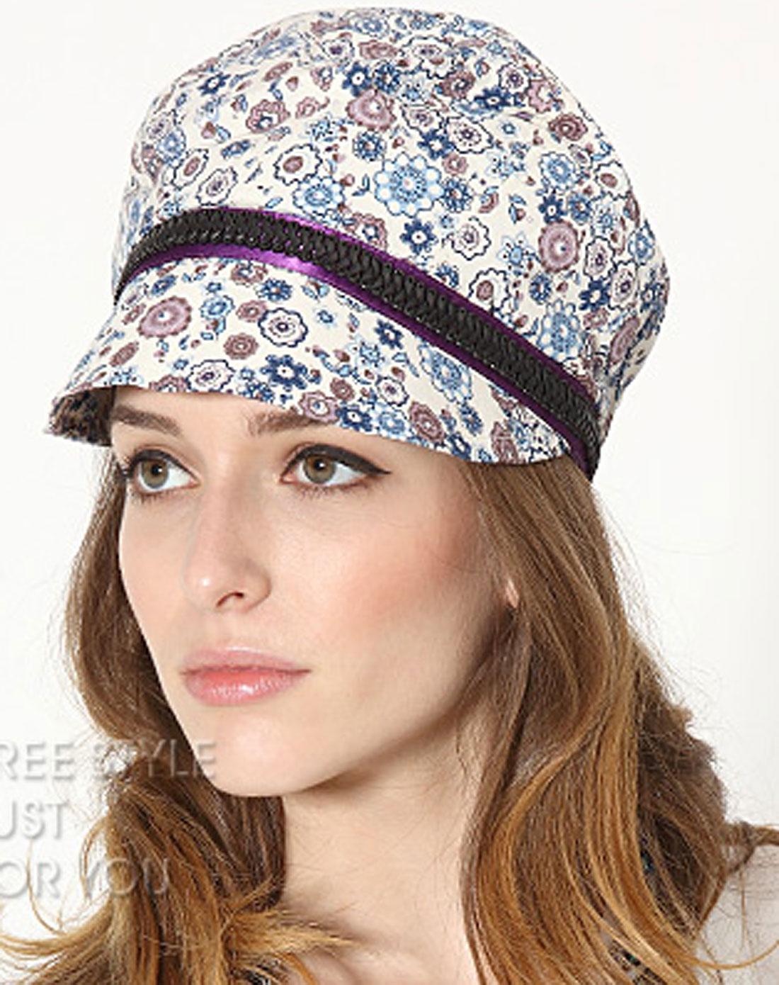 白/蓝色花纹图案时尚帽子bh80602c0