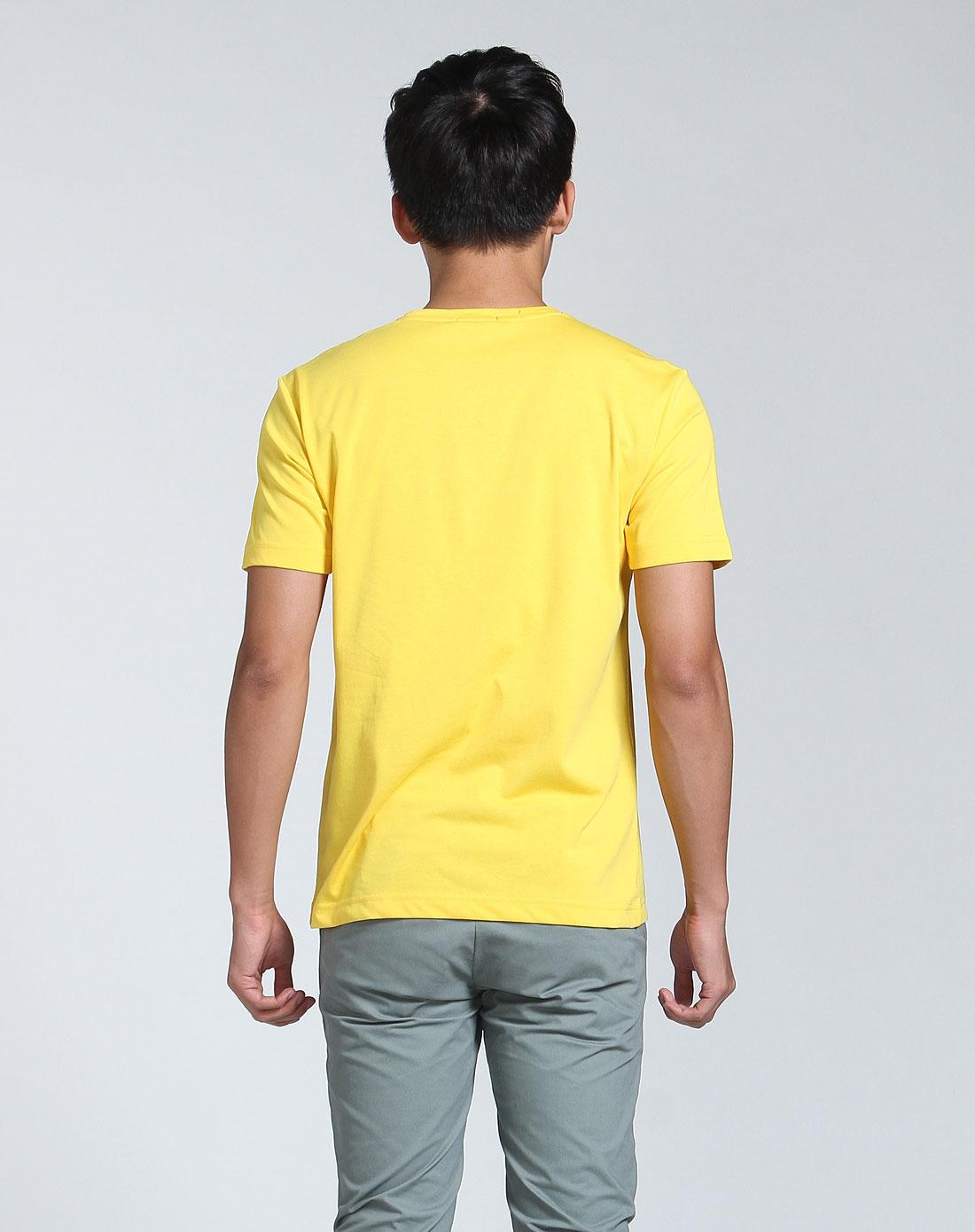 黄色帆船图案圆领短袖t恤