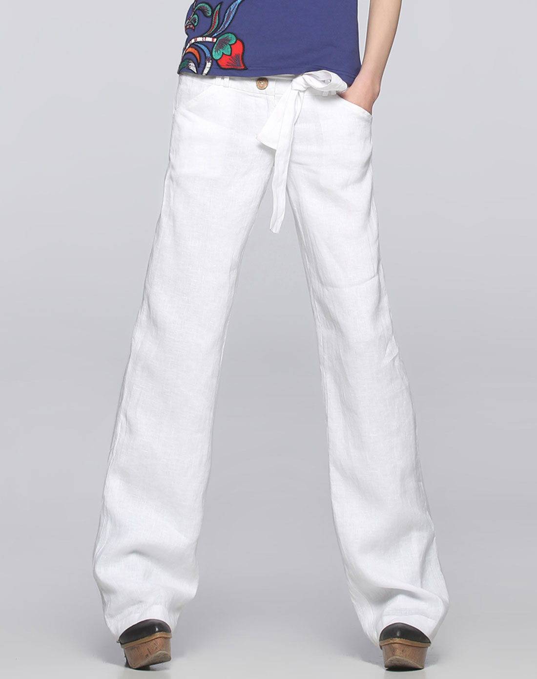 阔腿裤服装款式图正反面手绘