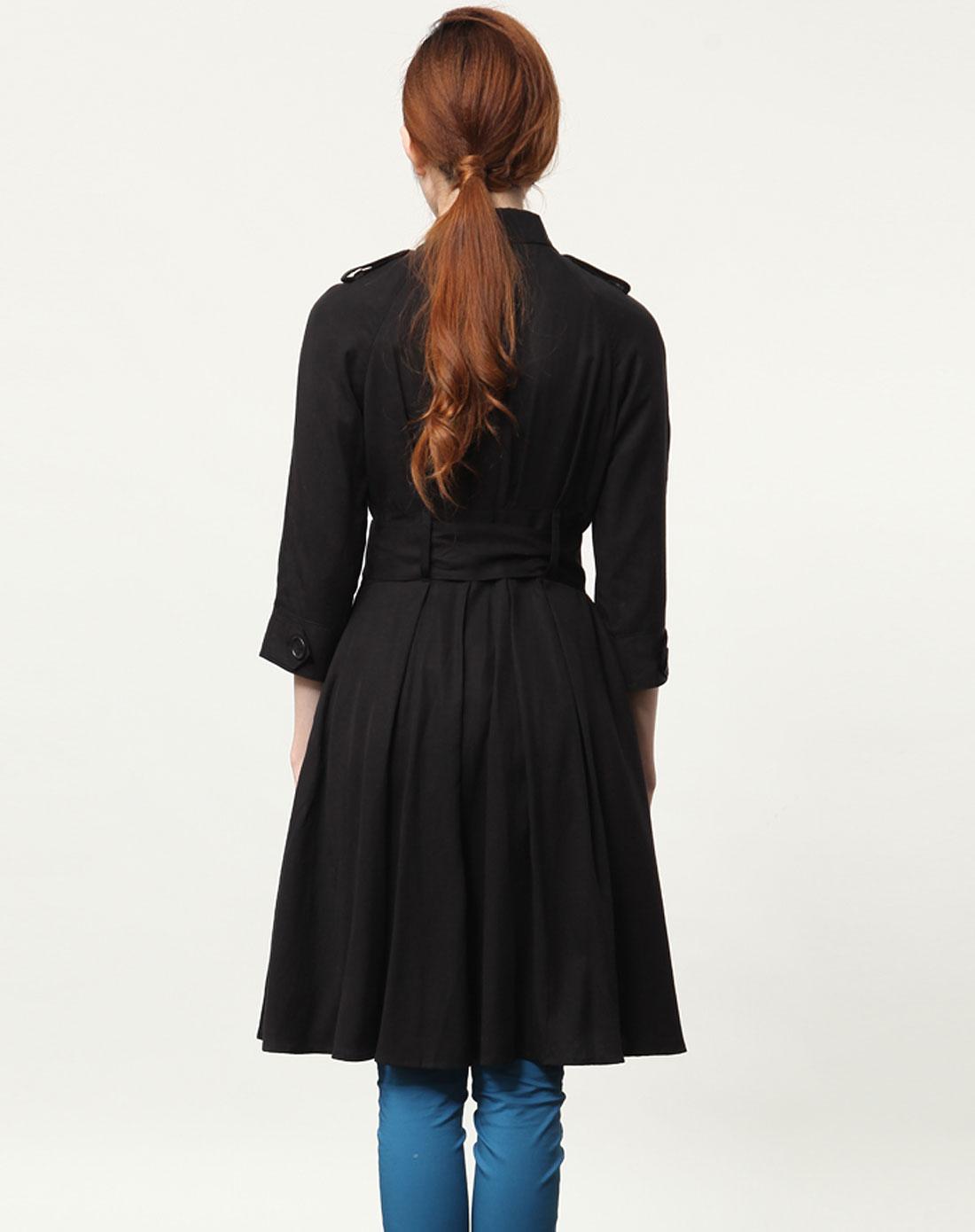 黑色春款中袖风衣