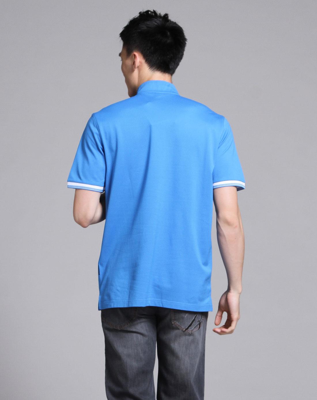 蓝色简洁立领短袖t恤