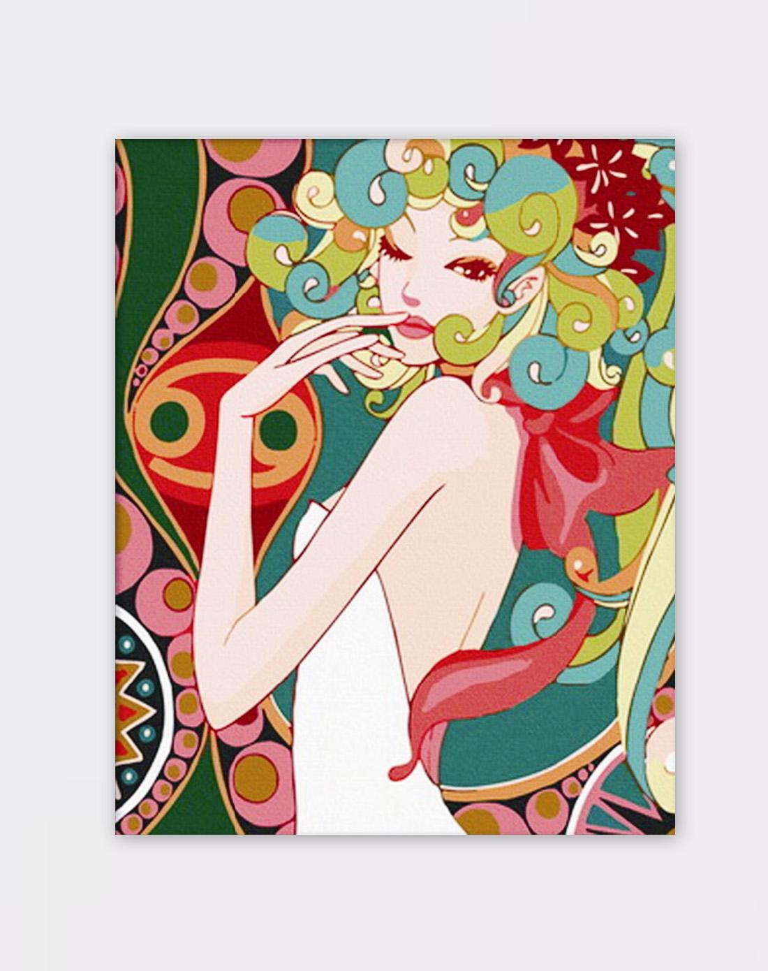 diy手绘数字油画-时尚小娇娃