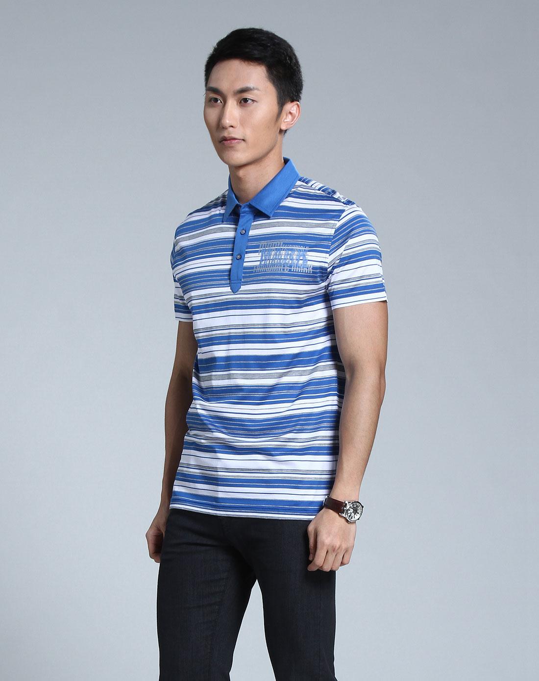 蓝白色条纹时尚短袖t恤