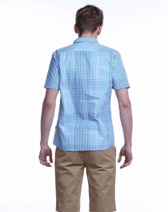 蓝色天空mbsky渐变细格浅蓝色短袖衬衫15022291-302