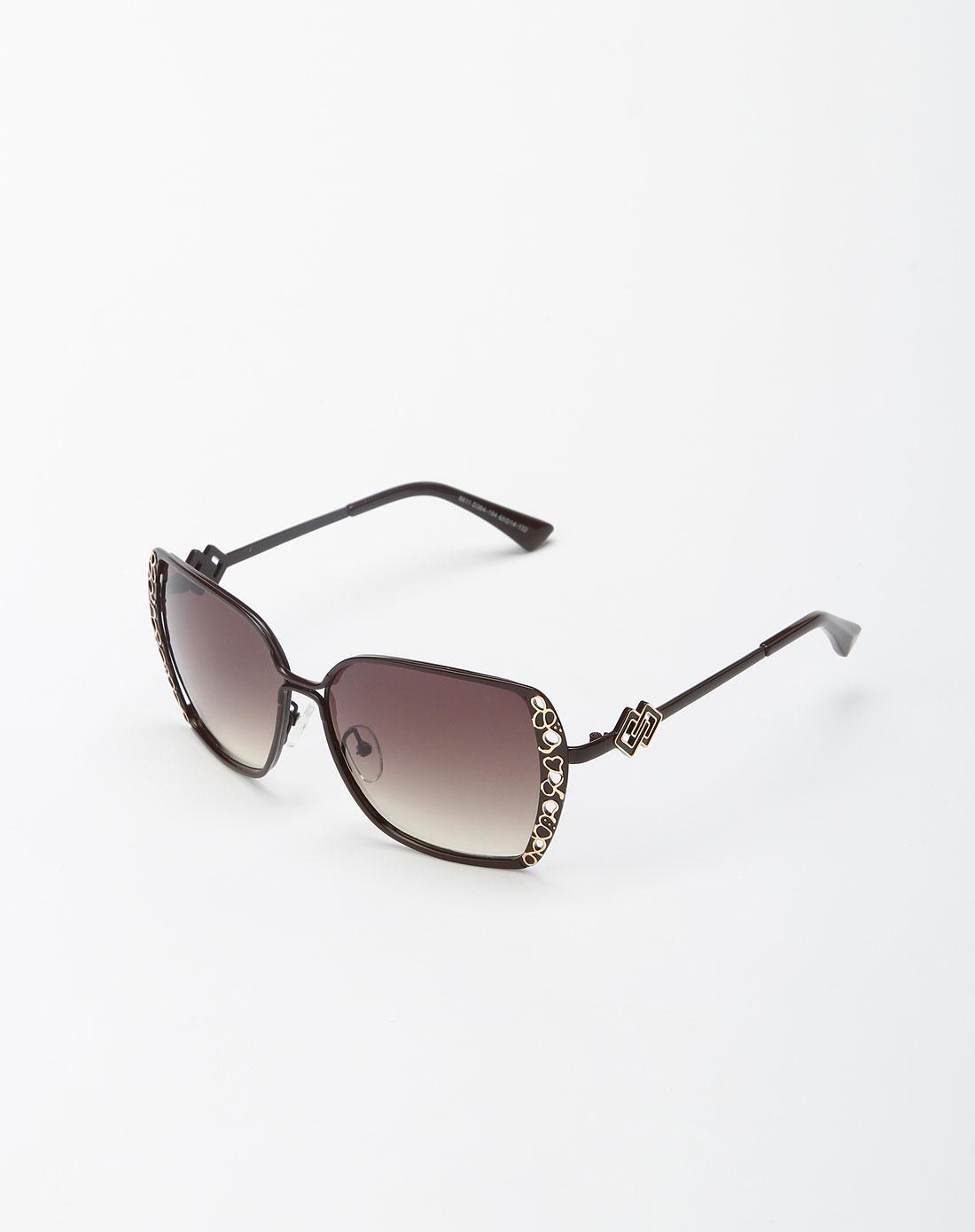 棕色可爱心形太阳眼镜