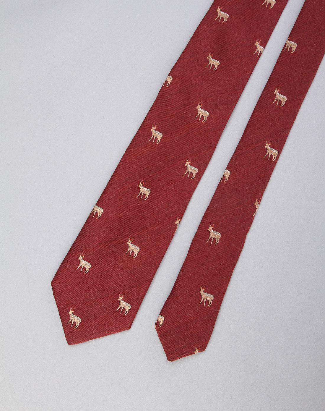 男款精美可爱动物图案领带红色