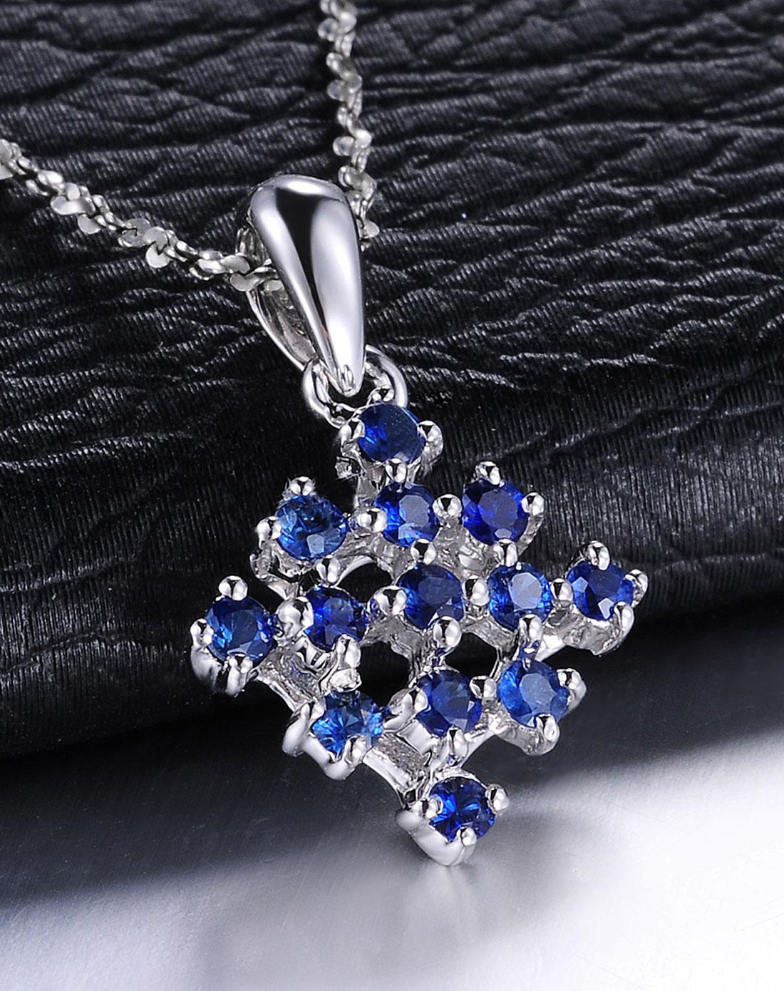 9k金蓝宝石结婚吊坠/彩色宝石