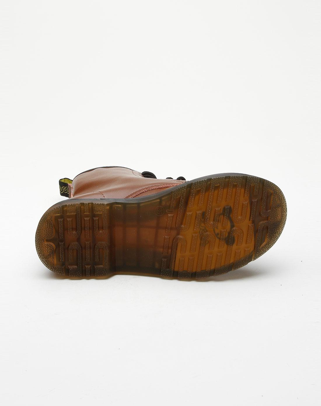 女款棕色压印logo时尚马丁靴