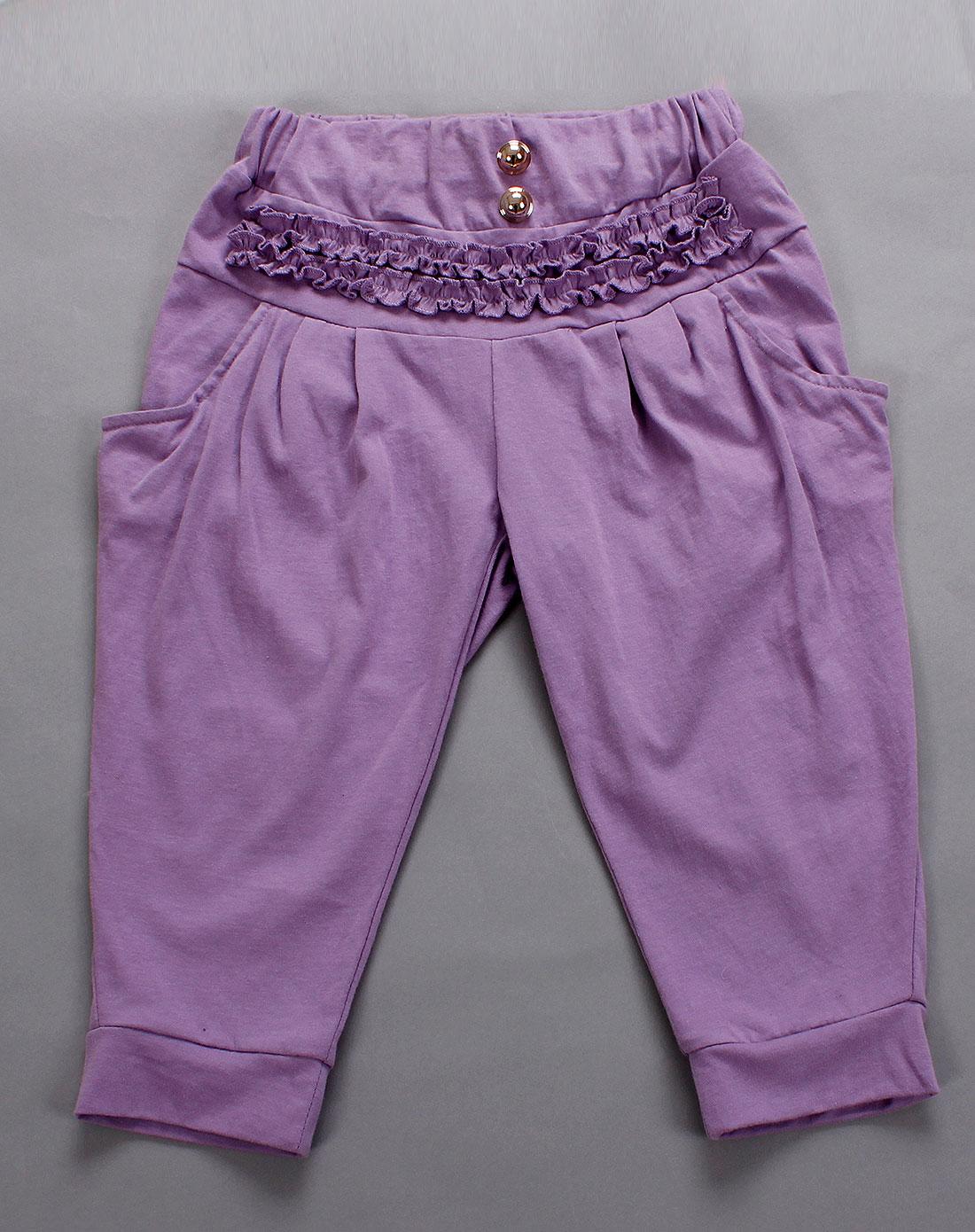 艾伊宝aiyibao男女童女童紫色针织裤子22900307