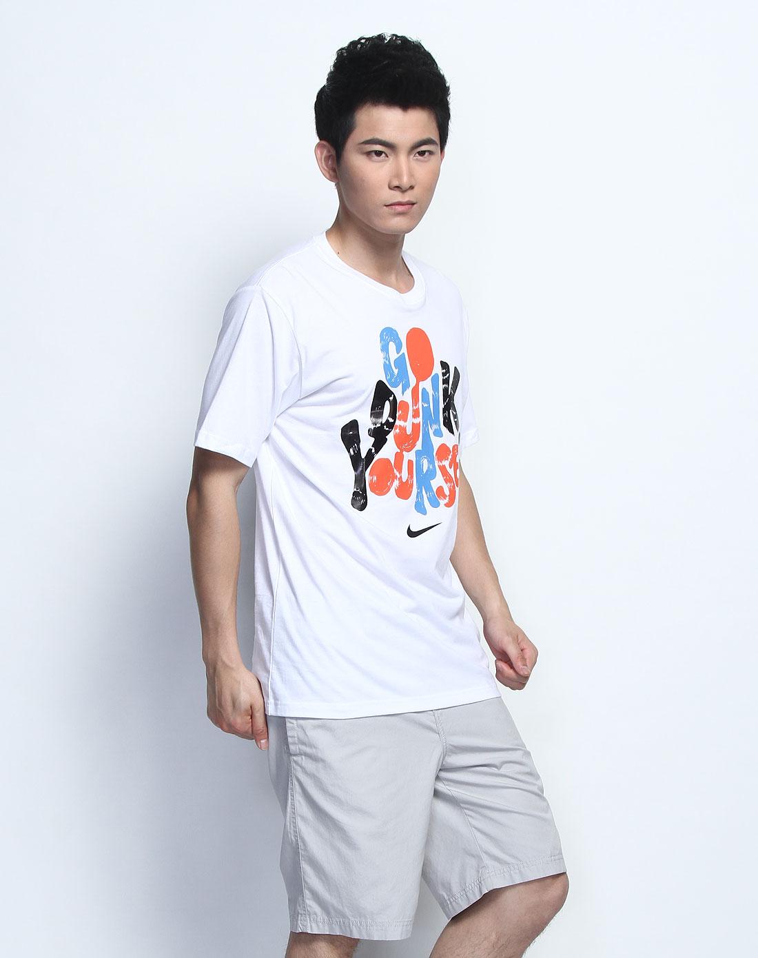 耐克nike男装专场-手绘字母印花圆领白色短袖t恤