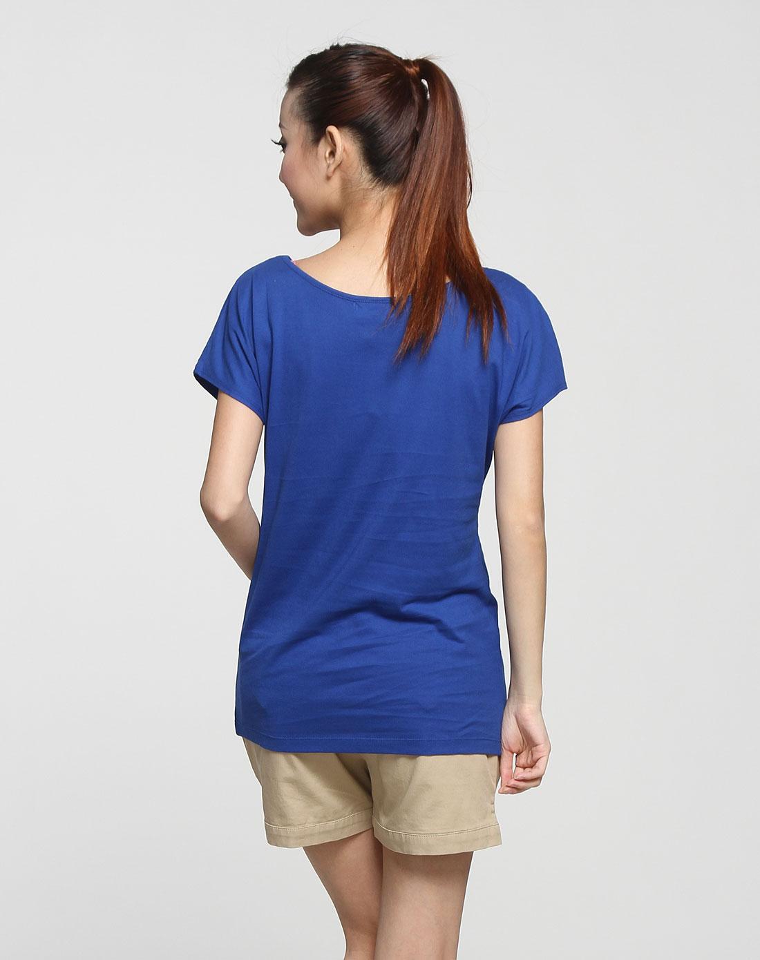 女款蓝色闪亮印图短袖t恤衫