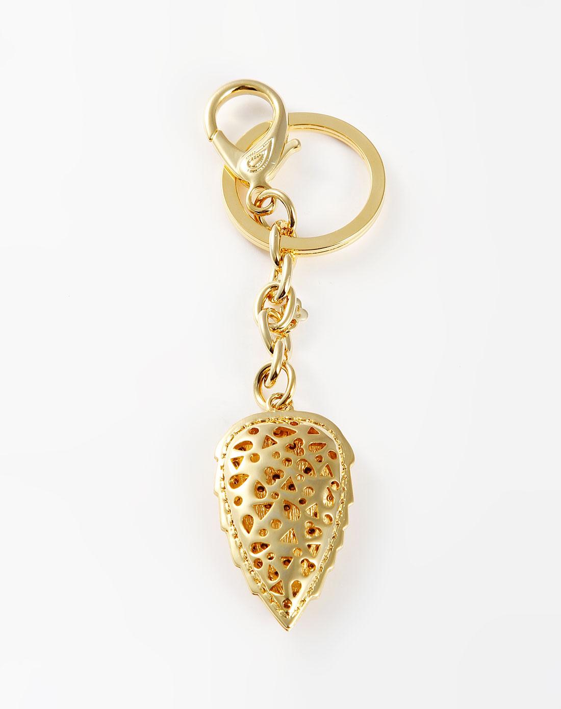 威妮华viennois金色高档满钻树叶钥匙扣v014666l-002
