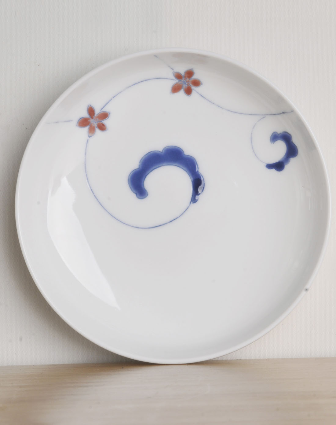 哲品斗彩卷草纹手绘陶瓷餐盘4件装-独秀