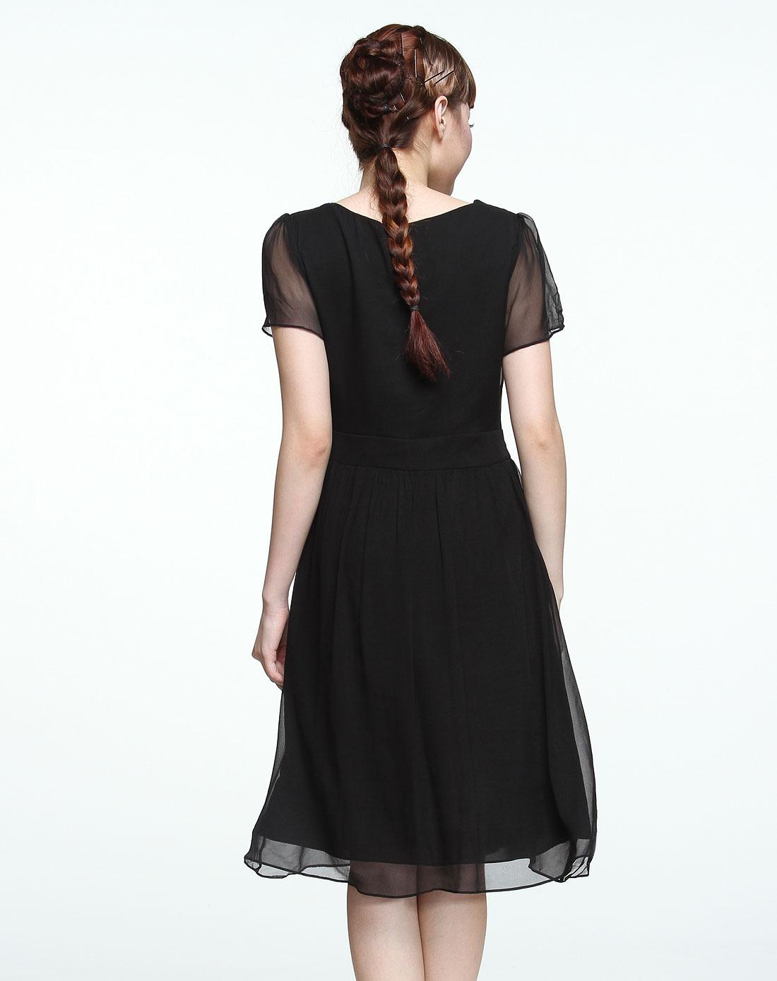 黑色高贵优雅短袖连衣裙