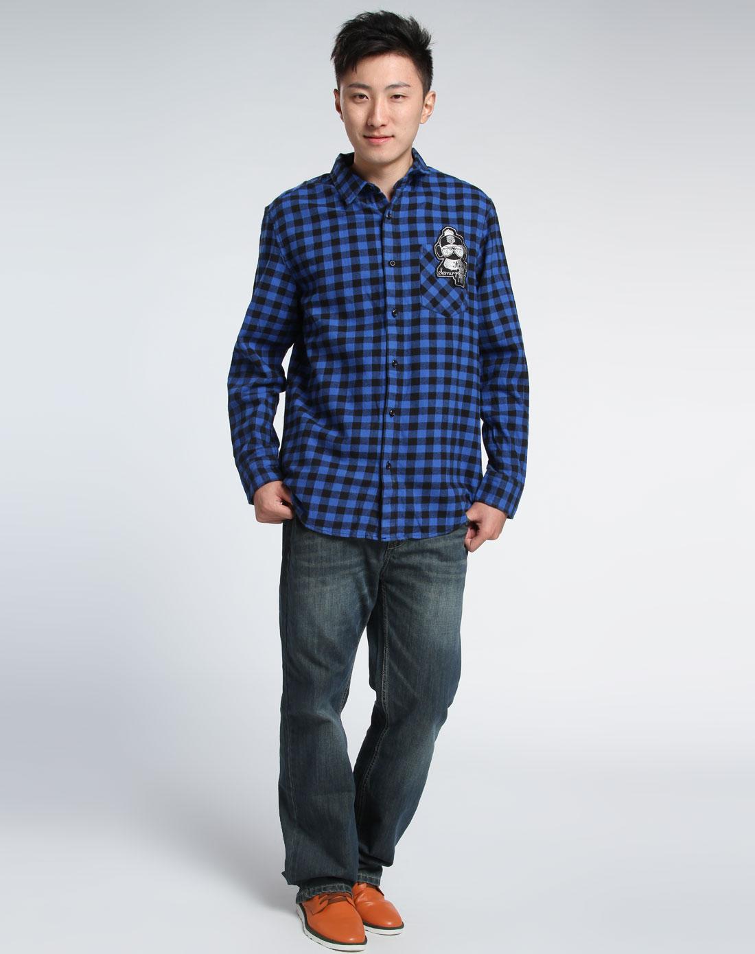 森马-男装男款黑/蓝色格子长袖衬衫084141502-098图片