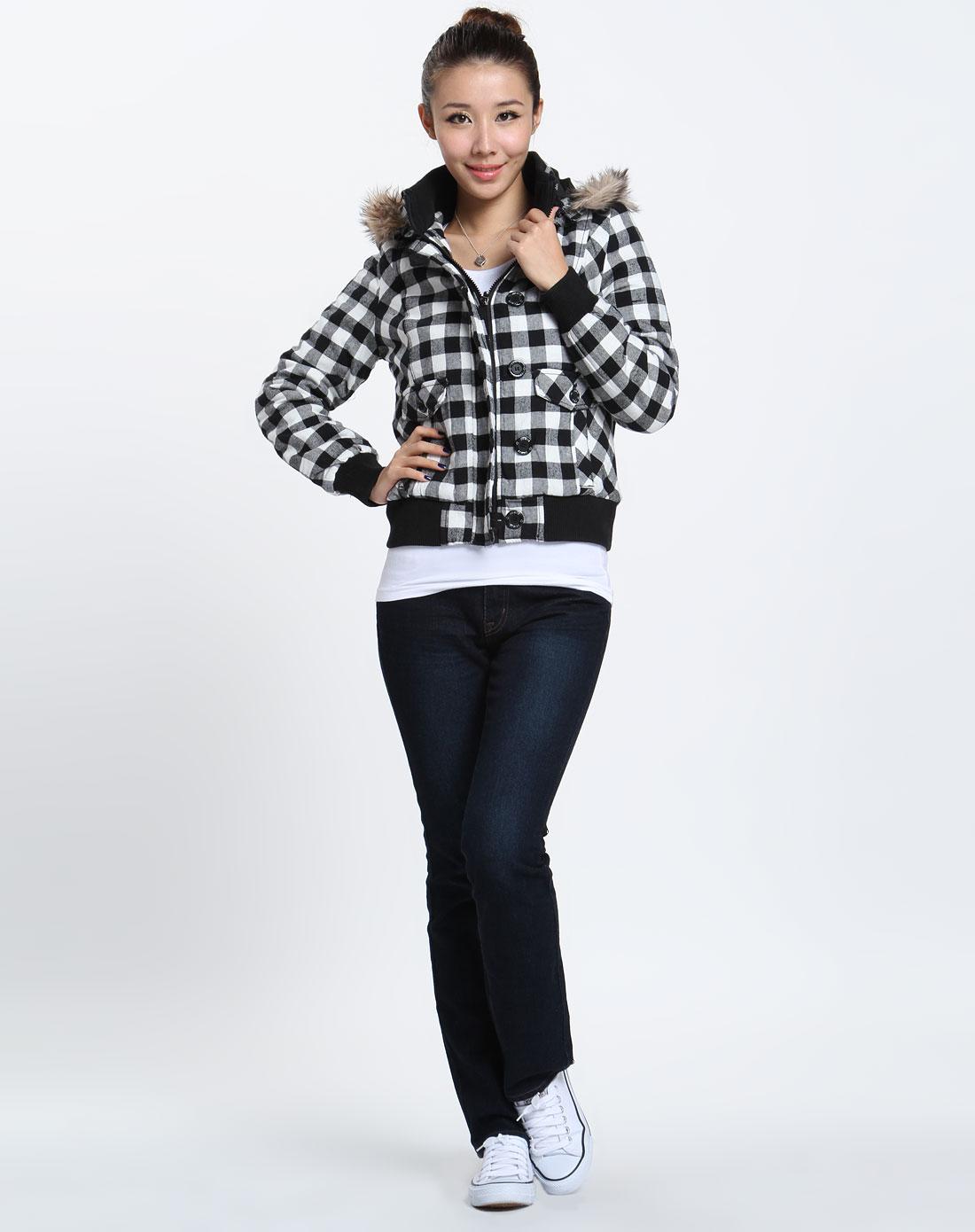 森马 女款黑/白色格子长袖外套图片