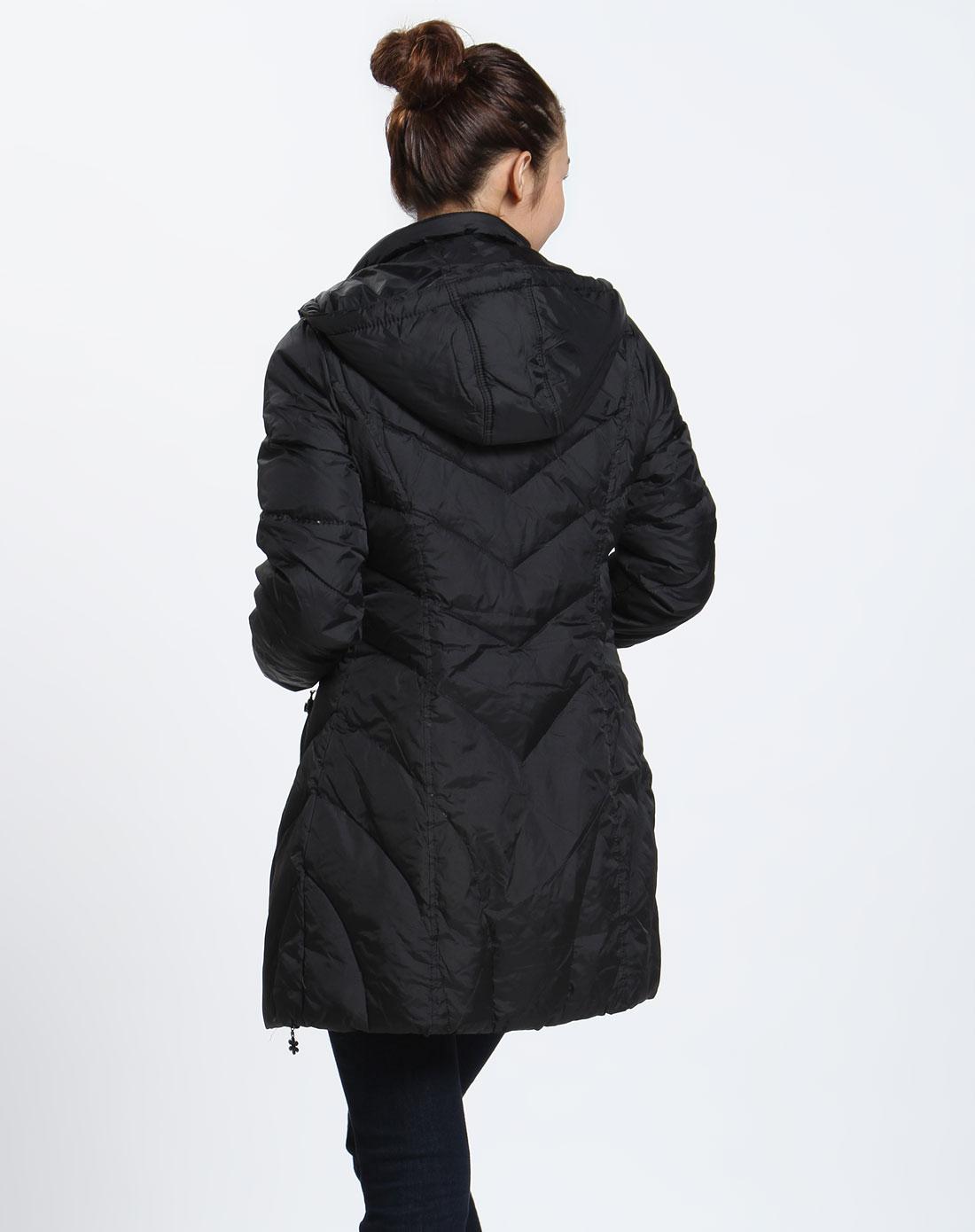 森马 女款黑色时尚长袖羽绒服
