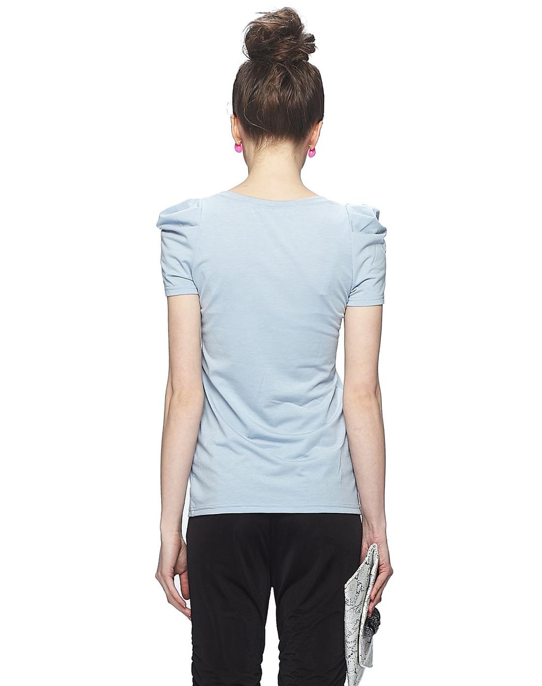 浅蓝休闲圆领手绘短袖t恤