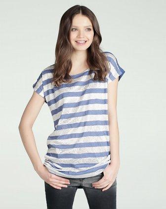 蓝白色条纹长t恤