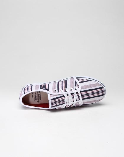 范斯vans 中性休闲条纹白底蓝红色硫化鞋
