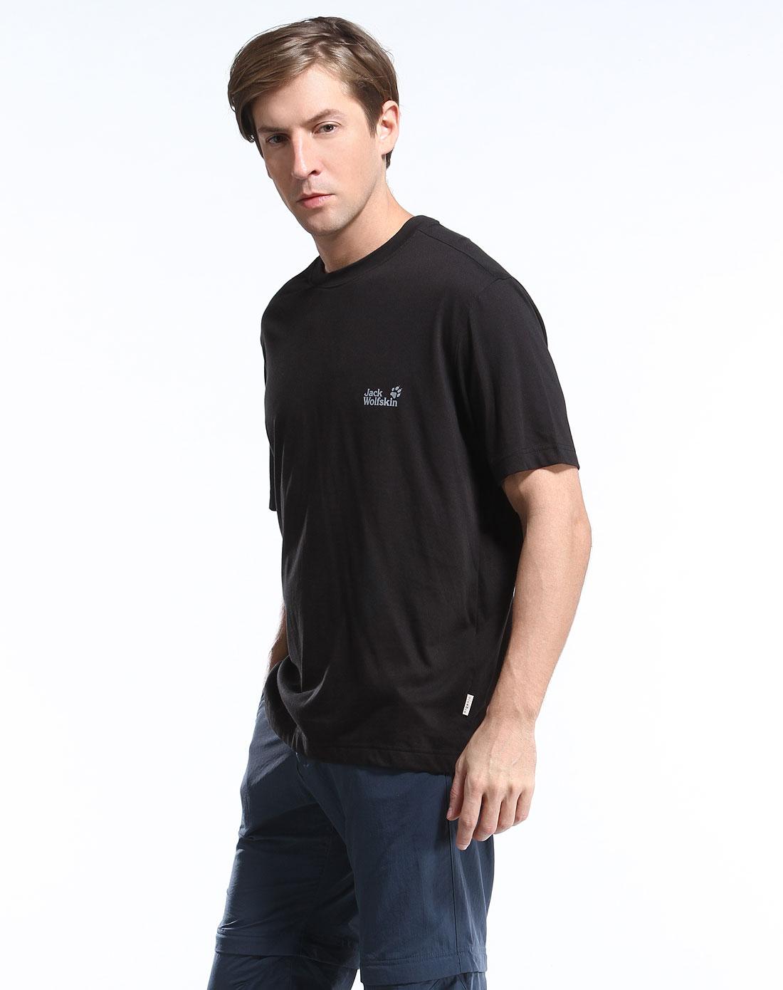 男款黑色舒适休闲短袖t恤衫
