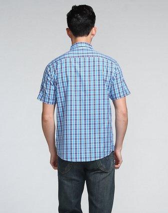 时尚格子翻领深蓝间浅蓝色短袖衬衫