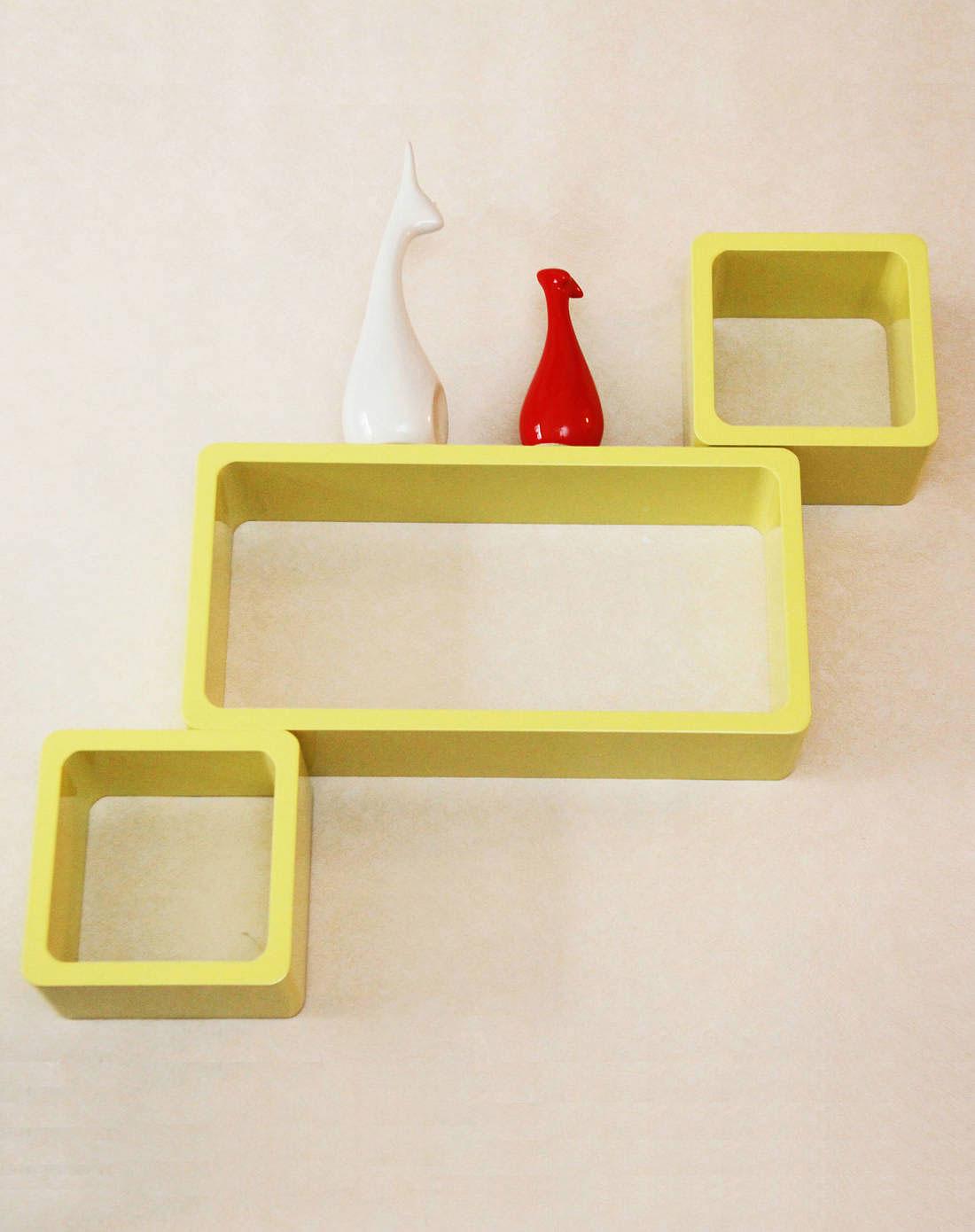 雅工坊木质置物架-品字格子3件绿261101004
