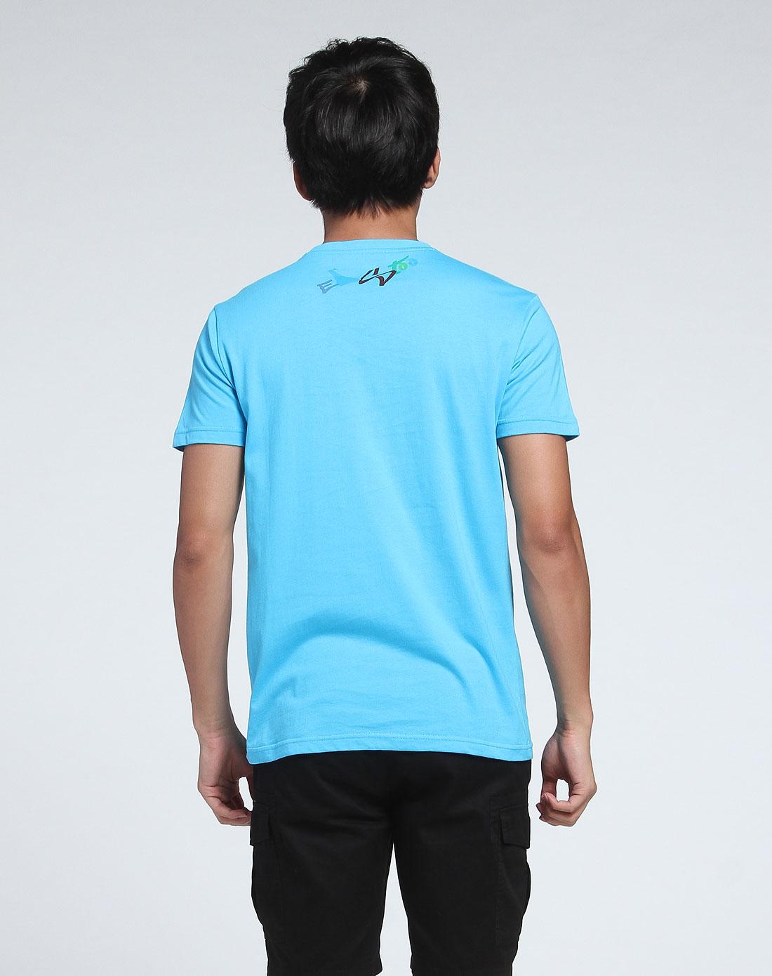 q版人物圆领蓝色短袖t恤