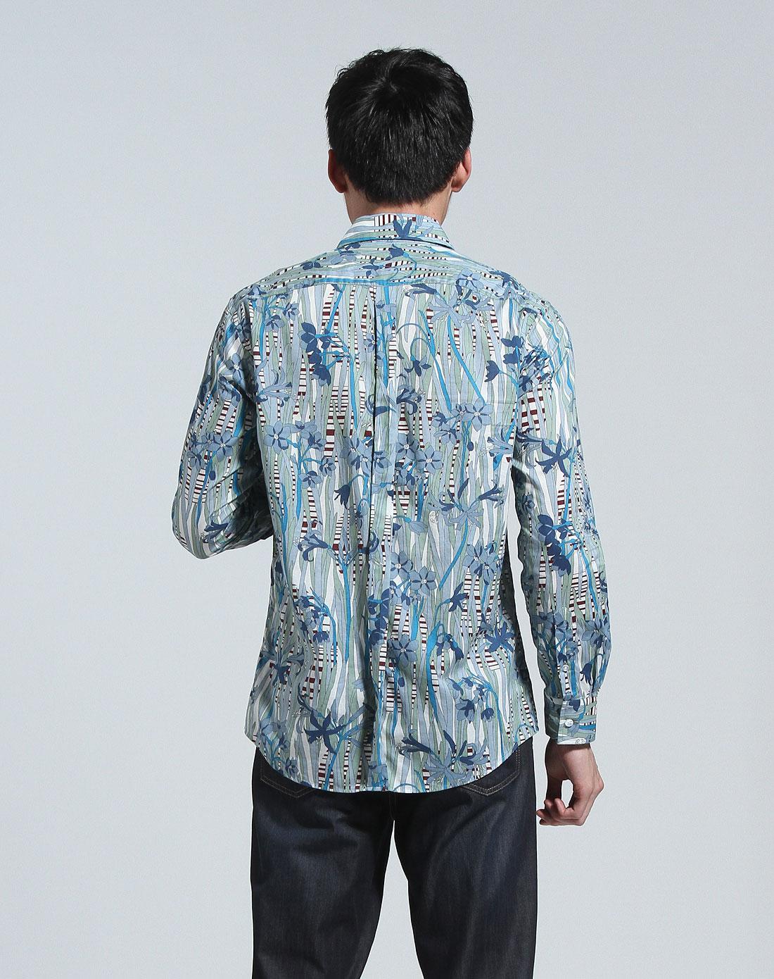 斯托梵诺stovenno蓝绿色花纹时尚长袖衬衫2130697231