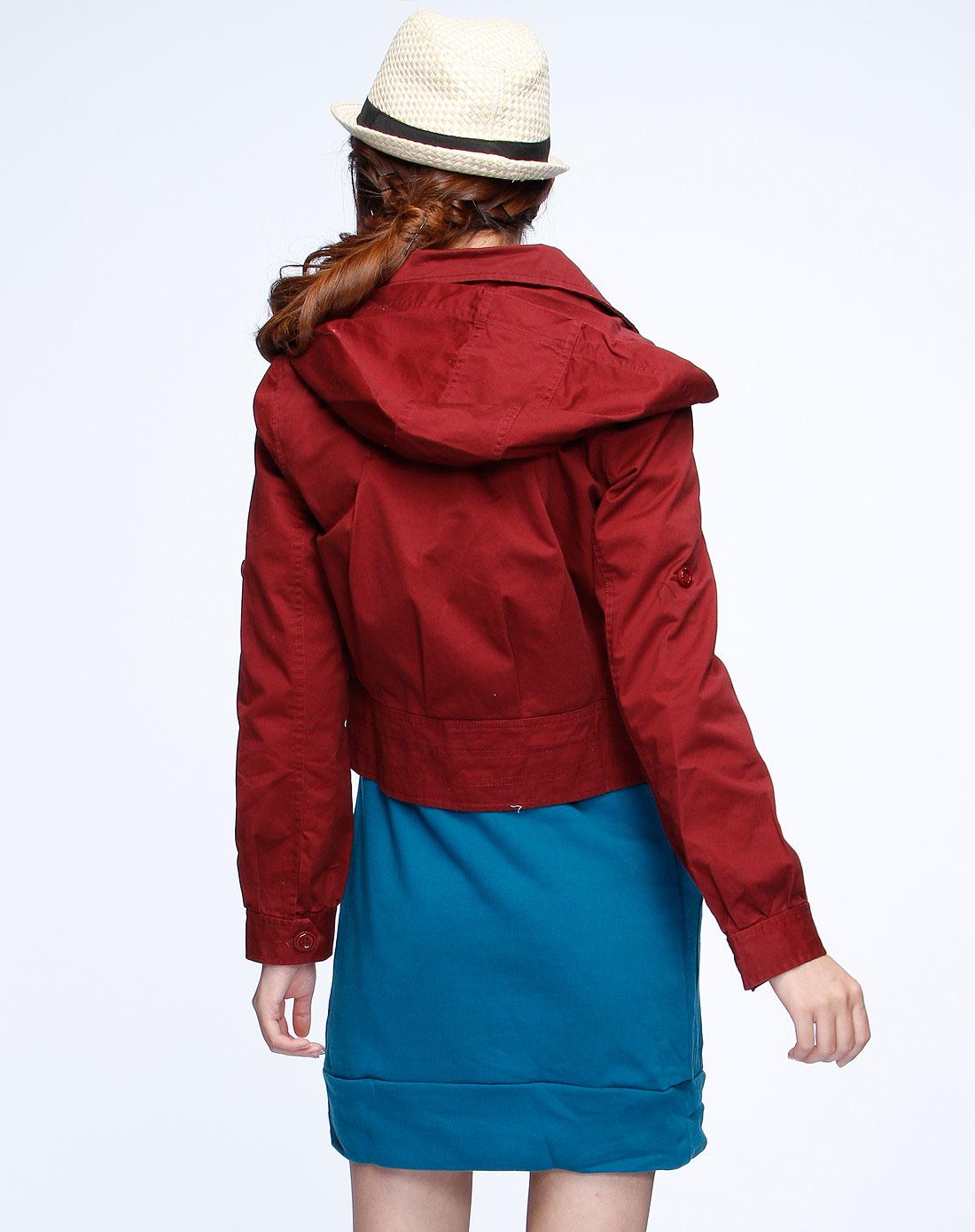 女款酒红色连帽长袖小外套0310