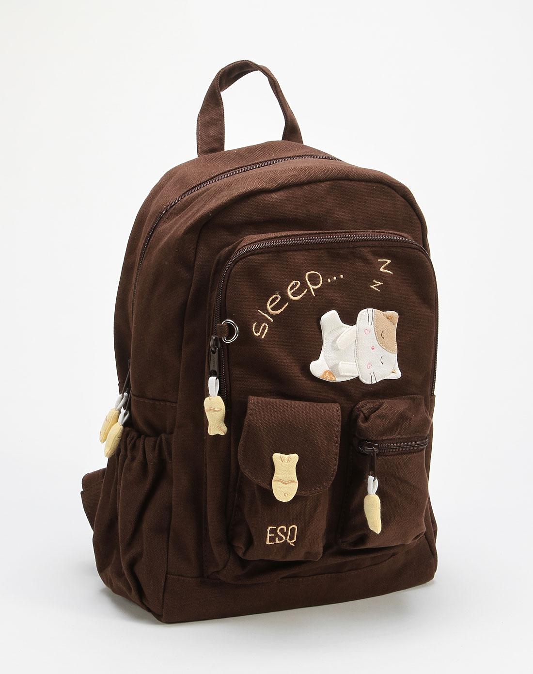 esq时尚可爱咖啡色双肩背包1002815