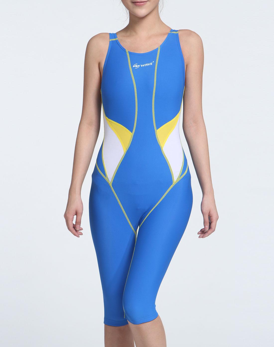 海浪wave 女款蓝色弹力贴身连体泳衣