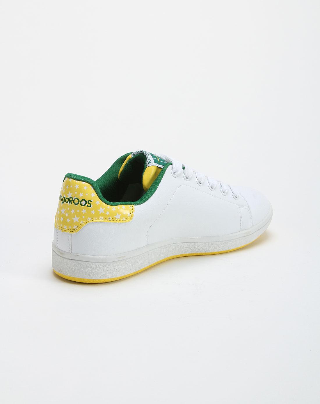 白底黄色刺绣logo星星印花休闲板鞋