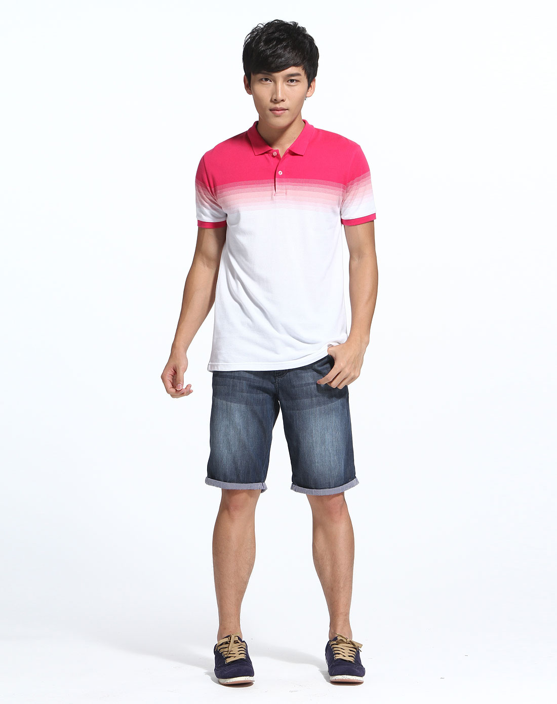 walk渐变色玫红白色短袖polot恤w0122056-11