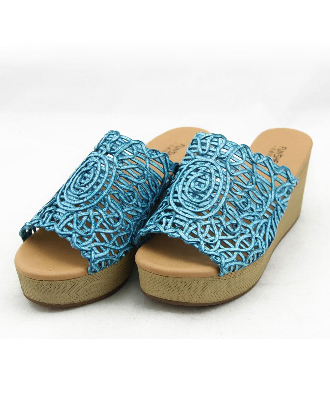 女款天蓝色纯手工编织时尚凉拖