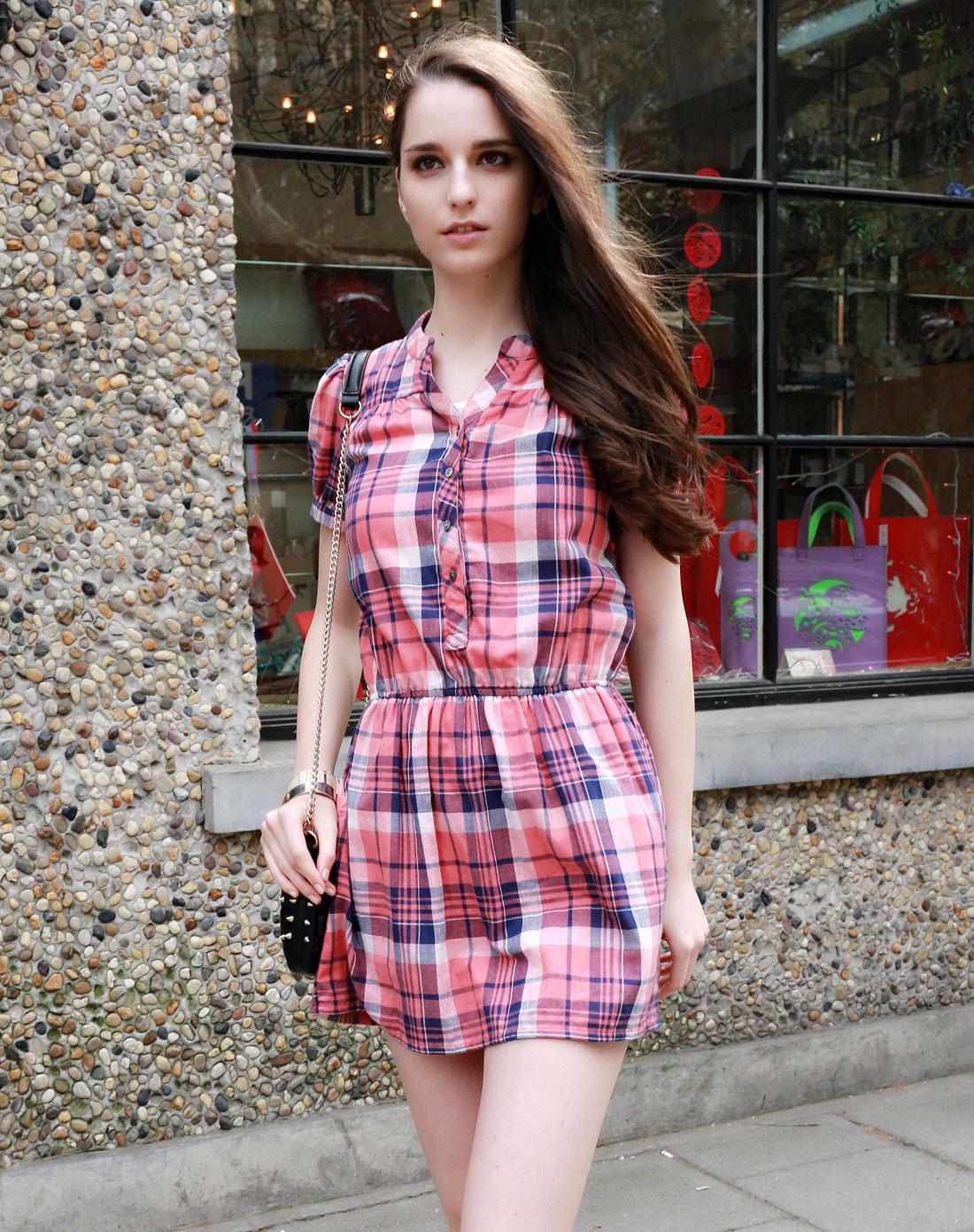 橘红/蓝色格纹时尚短袖连衣裙